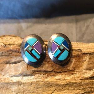 Native American Sterling & Gemstone Inlay Earrings